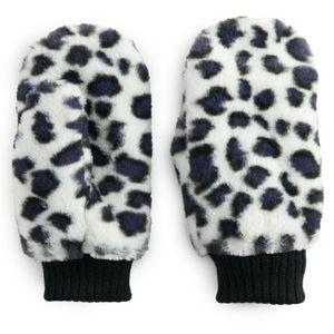 NWT Women's SO Leopard Faux Fur Mittens